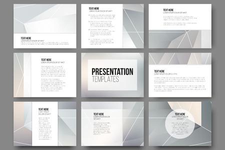 diamante: Conjunto de 9 plantillas para diapositivas de la presentación. Minimalistas geométricas fondos del vector borrosas. Vectores