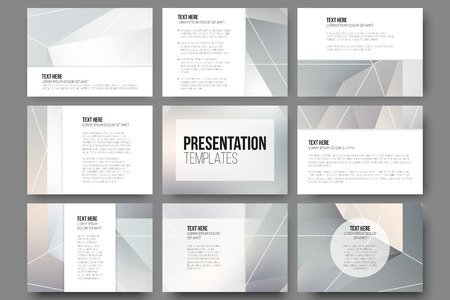layout: Set of 9 templates for presentation slides. Minimalistic geometric blurred vector backgrounds.