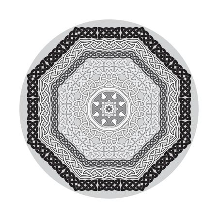 celt: Round ornamental vector shape, celtic patterns, frames isolated on white. Illustration