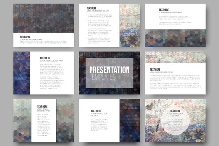 graffiti wall: Set of 9 templates for presentation slides. Graffiti wall. Collection of abstract multicolored backgrounds. Geometrical patterns. Triangular and hexagonal style vector.