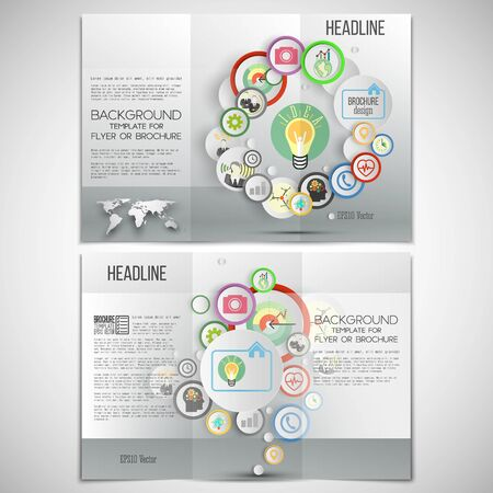grey backgrounds: Vector set of tri-fold brochure design template on both sides. Gray backgrounds, infographics with colored circles for business vector templates.