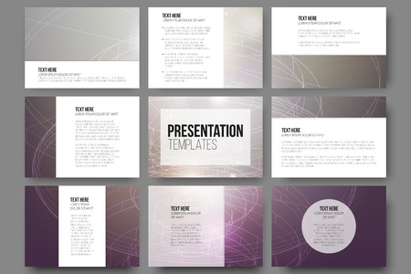 Set van 9 vector sjablonen voor presentatie dia's. Conceptuele abstracte wetenschappelijke vector achtergrond, minimalistisch ontwerp Stock Illustratie