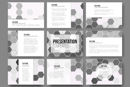 grey backgrounds: Set of 9 templates for presentation slides. Geometric gray backgrounds, abstract hexagonal vector patterns.