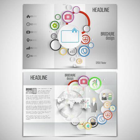 gray backgrounds: Vector conjunto de tri-pliegue plantilla de dise�o de folletos en ambos lados. Fondos grises, infograf�as con c�rculos de colores para las plantillas de vectores de negocio.