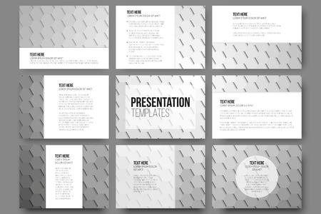grey backgrounds: Conjunto de 9 plantillas para diapositivas de la presentaci�n. Fondos grises geom�tricos, abstractos patrones vector hexagonales. Vectores
