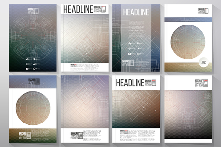 Technical construction with connected lines and dots. Brochures, flyers or reports for business, vector templates.