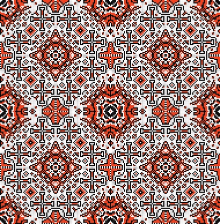 red wallpaper: Traditional national embroidered seamless pattern. Abstract vector texture.