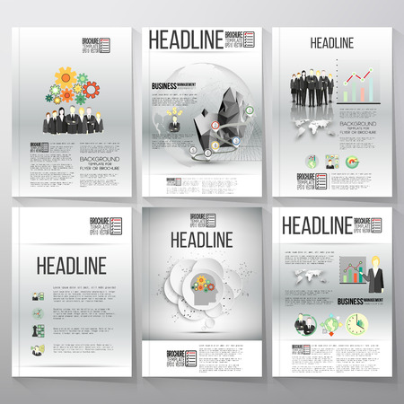 grey backgrounds: Business vector templates for brochure, flyer or booklet. Gray backgrounds with timeline and world globe. Vector infographic templates for business design.