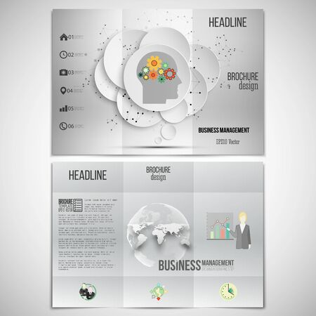 both sides: Vector set of tri-fold brochure design template on both sides. Gray background with world globe and human head with gears. Vector infographic template for your design.