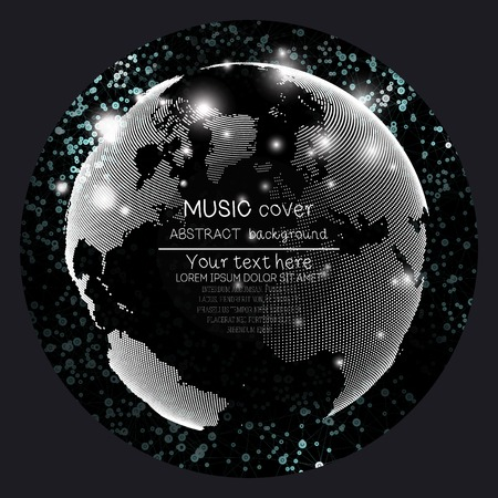album cover: Music album cover templates. World globe and global network, vector illustration.