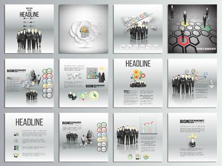 carpetas: Conjunto de 12 tarjetas creativas, diseño de plantilla de folleto cuadrado, fondos de negocios establecidos. Equipo de pie sobre fondo gris con línea de tiempo y de mundo. Vector plantillas infográficas para su diseño. Vectores