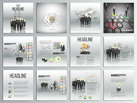 business team: Set of 12 creative cards, square brochure template design, business backgrounds set. Team standing over gray background with timeline and world map. Vector infographic templates for your design.