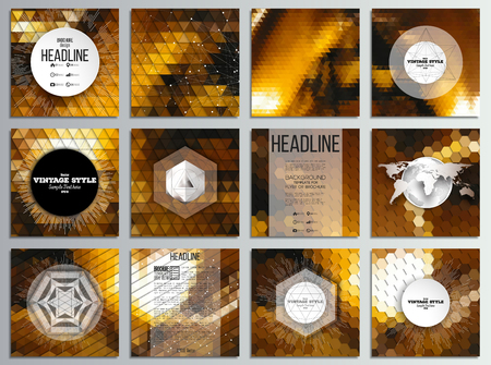golden texture: Set of 12 creative cards, square brochure template design. Golden abstract backgrounds. Geometrical patterns. Triangular and hexagonal style vector illustration. Illustration