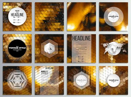 Set van 12 creatieve kaarten, vierkant brochure template design. Gouden abstracte achtergronden. Geometrische patronen. Driehoekige en zeshoekige stijl vector illustratie. Stock Illustratie