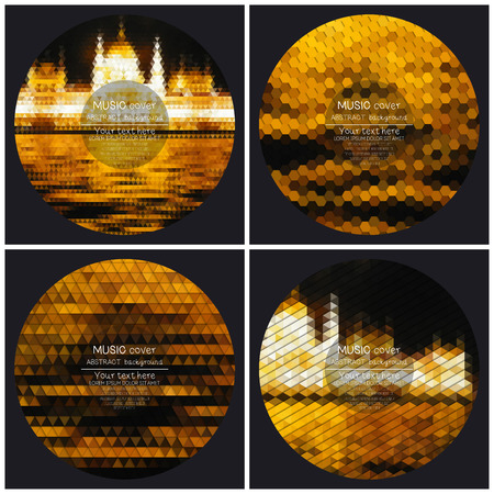cd label: Set of 4 music album cover templates. Night city landscape. Abstract multicolored backgrounds. Natural geometrical patterns. Triangular and hexagonal style vector illustration.