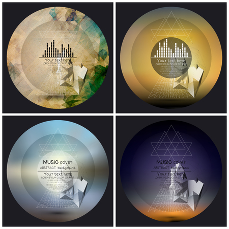 Set of 4 music album cover templates. Abstract multicolored backgrounds. Abstract 3D pyramids.