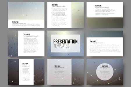 slides: Set of 9 templates for presentation slides. Molecule structure, gray science backgrounds for communication, vector illustration Illustration