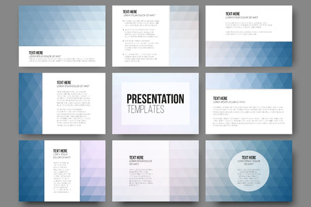 text background: Set of 9 templates for presentation slides. Abstract blue backgrounds. Triangle design vectors.