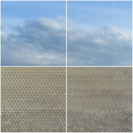 dry land: Dry land and blue sky with clouds. Collection of abstract multicolored backgrounds. Natural geometrical patterns. Triangular and hexagonal style vector illustration.