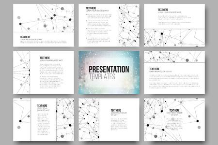 Set van 9 vector sjablonen voor presentatie dia's. Grafisch ontwerp van molecule structuur, blauwe wetenschappelijke vector achtergrond.