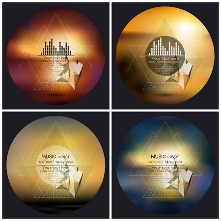 album cover: Set of 4 music album cover templates. Abstract multicolored backgrounds. Abstract 3D pyramids.