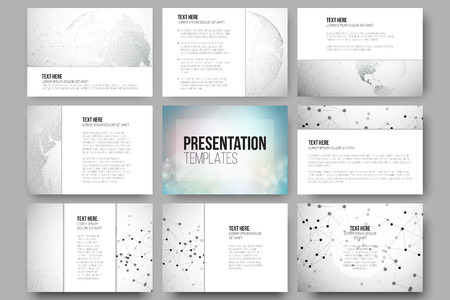 Set of 9 vector templates for presentation slides. Graphic design of molecule structure, dotted world globe. Gray scientific vector design.