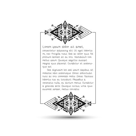 citation: Citation text box, tribal style frame with place for your text. Vector illustration.