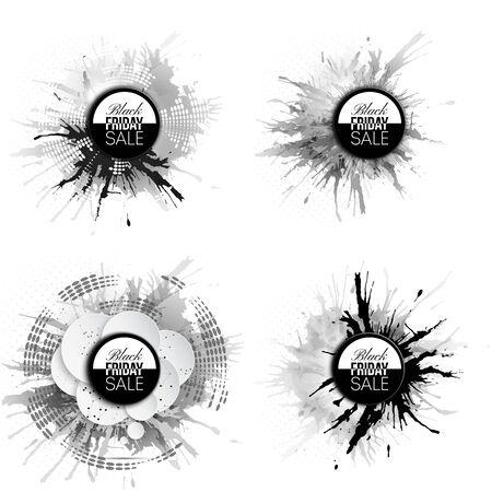 noir: Black friday elements, noir design sale banners set, vector illustration.