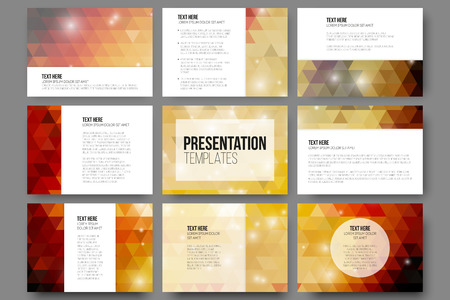 grey backgrounds: Set of 9 templates for presentation slides. Abstract gray backgrounds Vectores