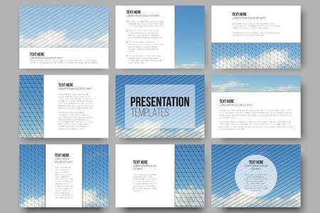 slides: Set of 9 templates for presentation slides. Blue cloudy sky