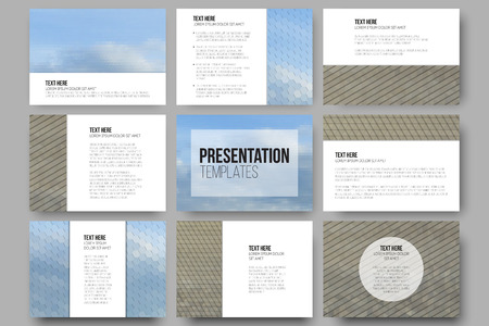 dry land: Set of 9 templates for presentation slides. Dry land and blue sky with clouds Illustration