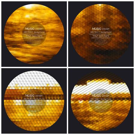 dubstep: Set of 4 music album cover templates. Night city landscape