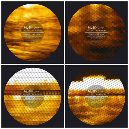 Set of 4 music album cover templates. Night city landscape