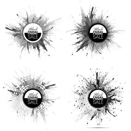 noir: Black friday elements, noir design sale banners set Illustration