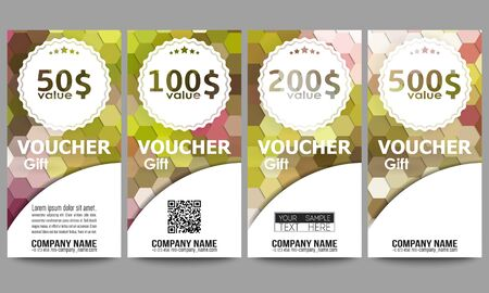 restaurant bill: Set of modern gift voucher templates
