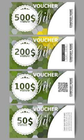 restaurant bill: Set of modern gift voucher templates. Polygonal design vector, colorful geometric hexagonal backgrounds. Illustration