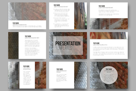 Set of 9 templates for presentation slides. City landscape. Abstract multicolored backgrounds. Geometrical patterns. Triangular and hexagonal style. Vetores