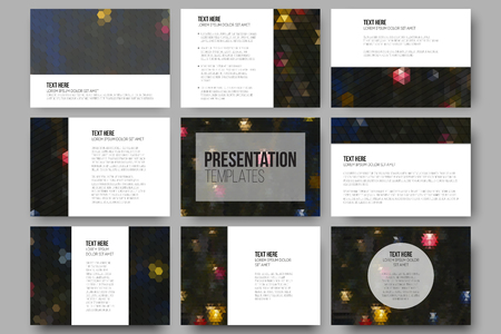 paper: Set of 9 templates for presentation slides. Night lights in the city. Collection of abstract multicolored backgrounds. Natural geometrical patterns. Triangular and hexagonal style vector illustration. Illustration