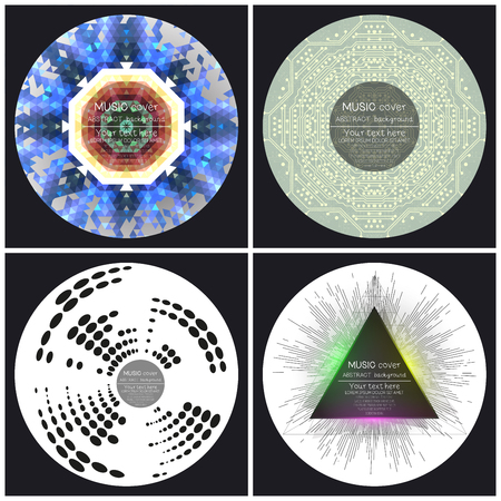 album cover: Set of 4 music album cover templates. Abstract vector backgrounds.