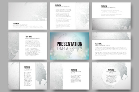 background cover: Set of 9 vector templates for presentation slides. Graphic design of molecule structure, dotted world globe. Gray scientific vector design.