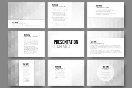 grey backgrounds: Conjunto de 9 plantillas para diapositivas de la presentaci�n. Fondos grises abstractas. Vectores de dise�o de tri�ngulo.