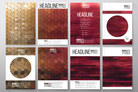 business flyer: Business templates for brochure, flyer or booklet. Night landscape. Collection of abstract multicolored backgrounds. Natural geometrical patterns. Triangular and hexagonal style vector illustration. Illustration