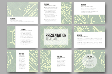 template: Set of 9 templates for presentation slides. Microchip backgrounds, electrical circuits backdrops. Business patterns, science vector design.