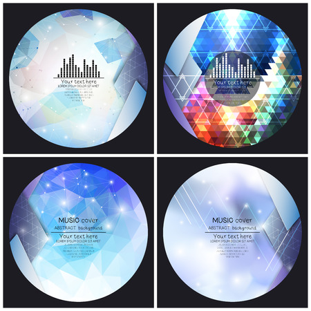 album cover: Set of 4 music album cover templates. Abstract backgrounds. Geometrical patterns. Triangular style vector.