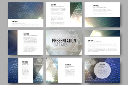 abstract vector background: Set of 9 vector templates for presentation slides. Colorful graphic design, abstract vector background.