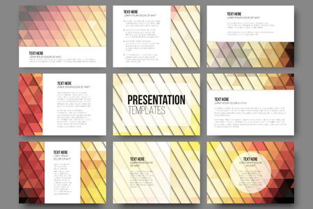 grey backgrounds: Set of 9 templates for presentation slides. Abstract gray backgrounds. Triangle design vectors.