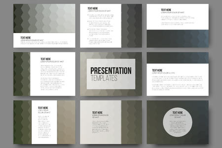 text background: Set of 9 templates for presentation slides. Geometric blurred backgrounds, abstract hexagonal vector patterns. Illustration
