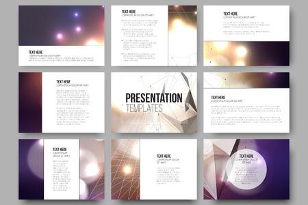 Reeks van 9 vector sjablonen voor presentatiedia's. Kleurrijk grafisch ontwerp, abstract vector achtergrond.