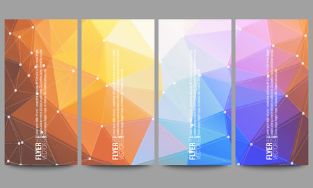 connect: Set of modern vector flyers. Abstract multicolored background. Scientific digital design, science illustration.