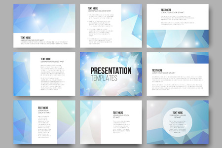 presentation background: Set of 9 vector templates for presentation slides. Colorful graphic design, abstract vector background.